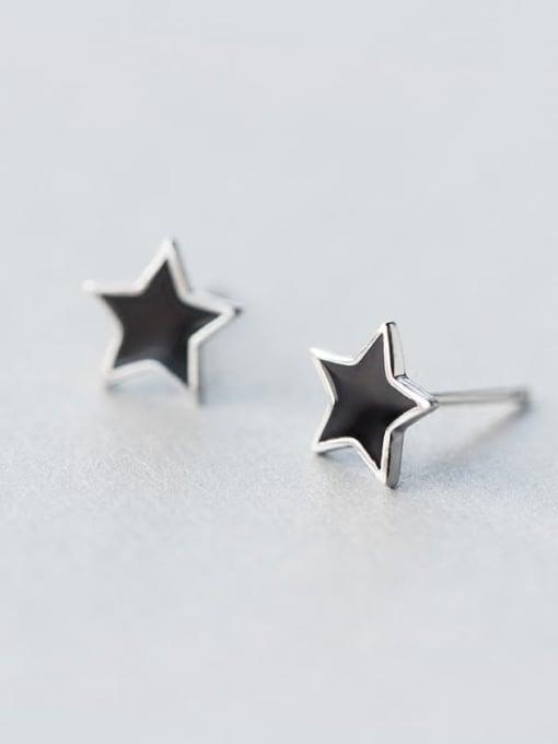 Rosh 925 Sterling Silver Black Enamel Star Minimalist Stud Earring 1