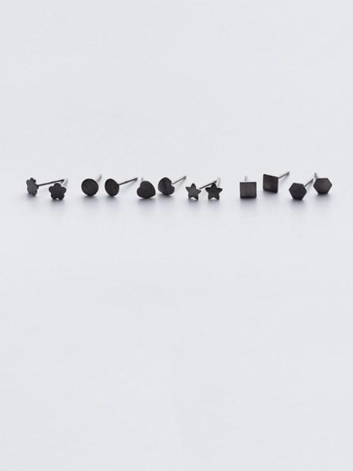 Rosh 925 Sterling Silver Black Enamel Geometric Minimalist Stud Earring