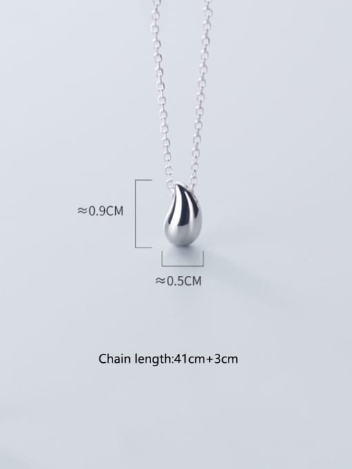 Rosh 925 Sterling Silver Simple glossy water drop pendant Necklace 3
