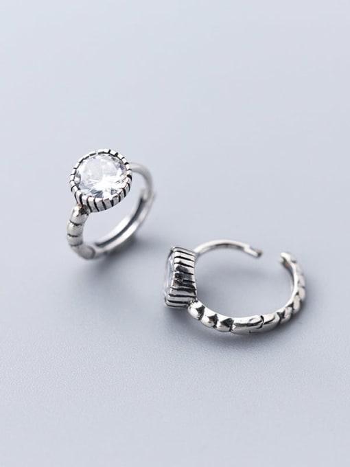 Rosh 925 sterling silver cubic zirconia  round minimalist huggie earring 1