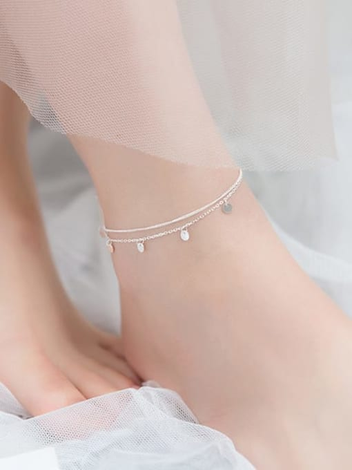 Rosh 925 Sterling Silver Round Minimalist Double layer  Anklet 1