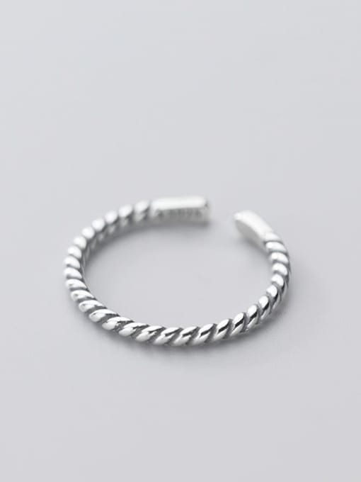 Rosh 925 Sterling Silver Irregular Vintage  Retro twisted rope Band Ring 1