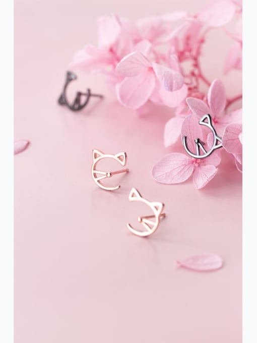 Rosh 925 Sterling Silver Cute Cat  Stud Earring 0