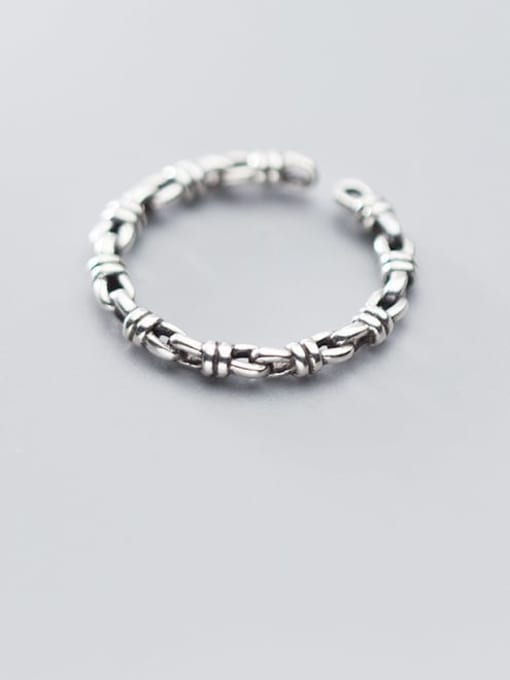 Rosh 925 Sterling Silver  Retro knot free size Ring 0