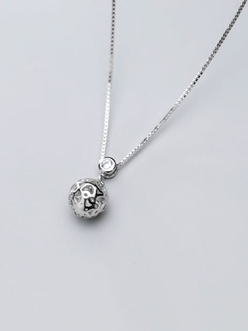 Rosh 925 sterling silver Heart hollow round ball pendant necklace 1