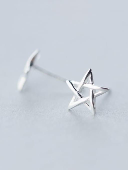 Rosh 925 Sterling Silver  Minimalist  Hollow Pentagram Stud Earring 0