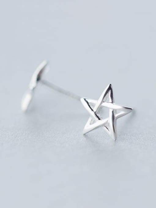 Rosh 925 Sterling Silver  Minimalist  Hollow Pentagram Stud Earring