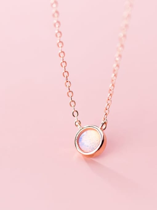 Rosh 925 Sterling Silver Opal Round Minimalist Necklace 1