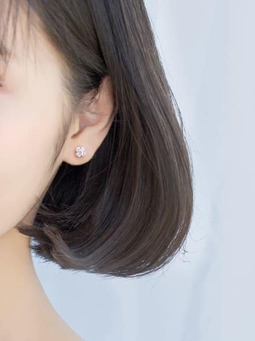 Rosh 925 Sterling Silver Cubic Zirconia Multi Color Flower Minimalist Stud Earring 1