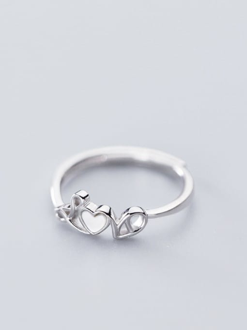 Rosh 925 Sterling Silver Shell White Letter Minimalist Free Size Ring 3