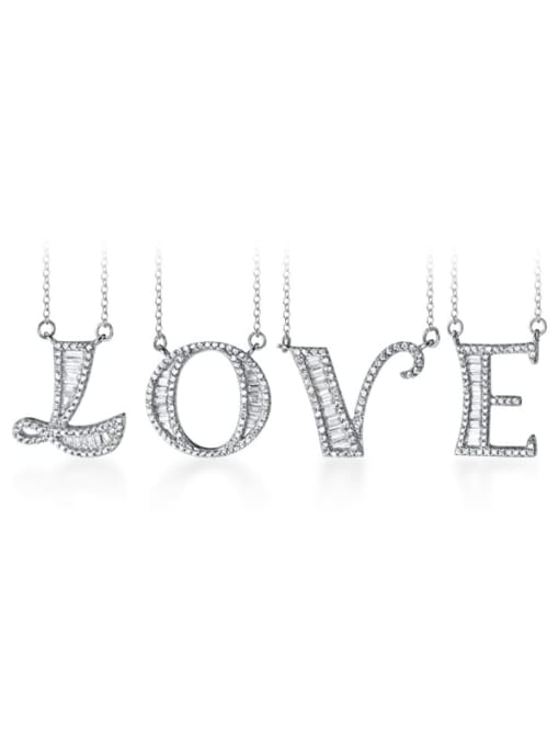Rosh 925 Sterling Silver Simple Fashion full diamond letters pendant  Necklace 3