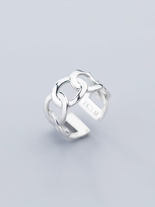 Rosh 925 Sterling Silver Hollow  Geometric Minimalist Free Size Band Ring 1