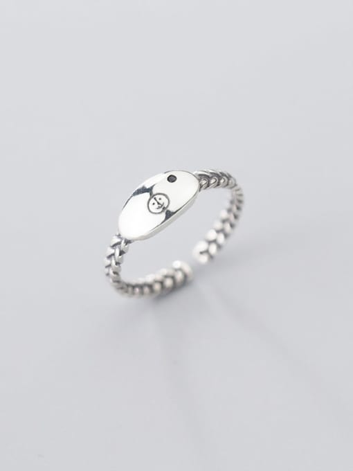 Rosh 925 sterling silver minimalist Smiley free size  ring 2