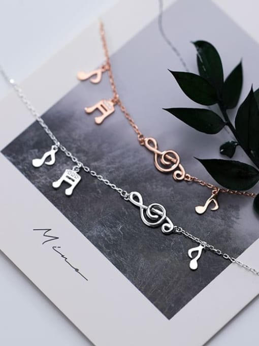 Rosh 925 Sterling Silver  Minimalist  Musical notes with diamonds Link Bracelet 2