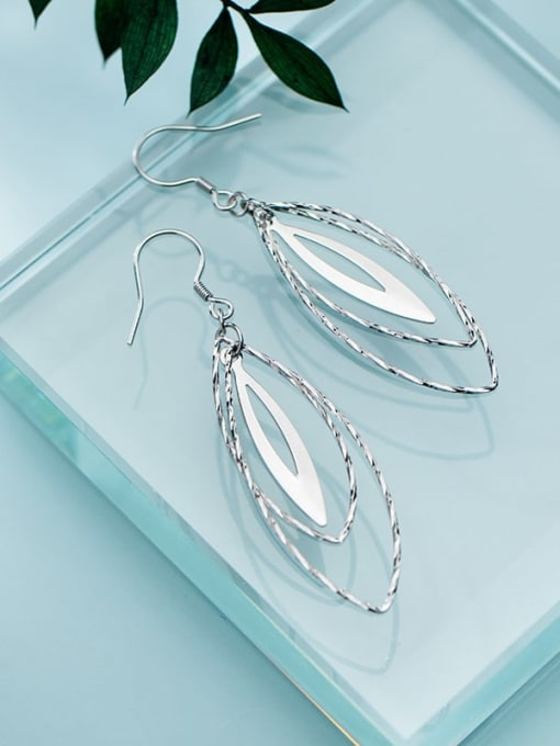 Rosh 925 Sterling Silver Minimalist   Multilayer Hollow Oval Hook Earring 2