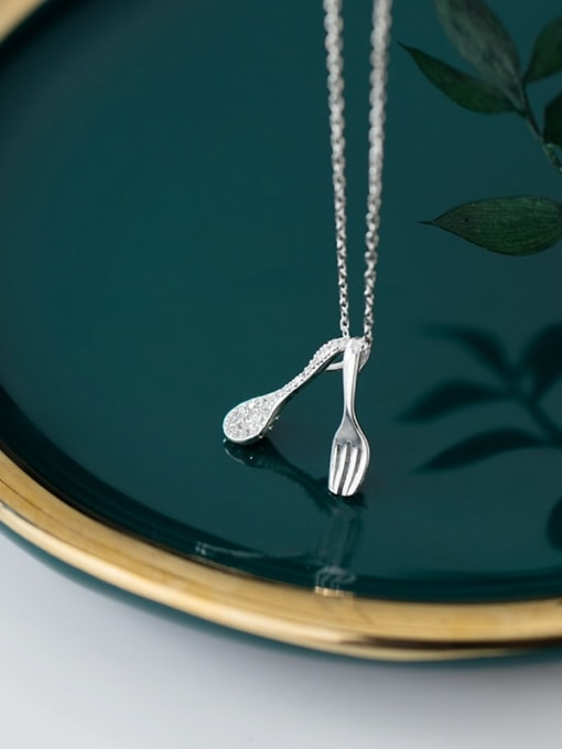 Rosh 925 sterling silver Simple  cute fork spoon pendant necklace 2