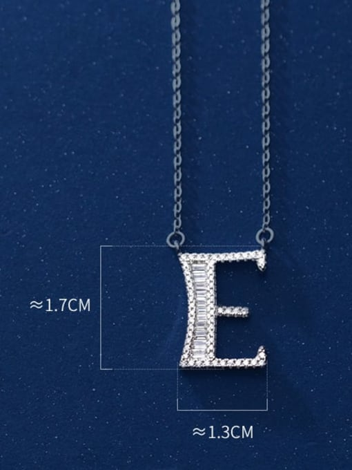 letter e 925 Sterling Silver Simple Fashion full diamond letters pendant  Necklace