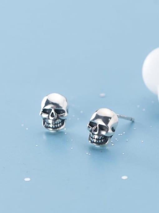 Rosh 925 Sterling Silver Skull Vintage Stud Earring