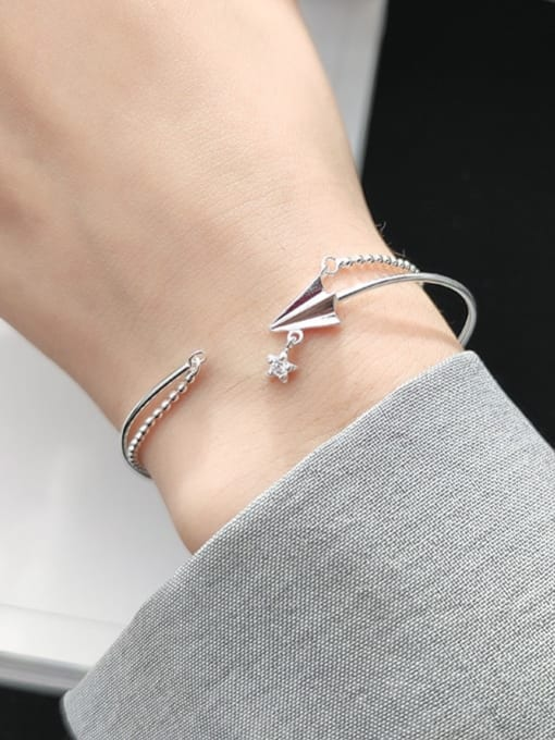 Rosh 925 Sterling Silver Minimalist  Paper plane double layer small silver beads Strand Bracelet 2