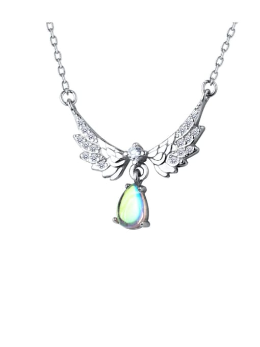 Rosh 925 Sterling Silver Fashion Wings  Water Drop  Pendant  Necklace