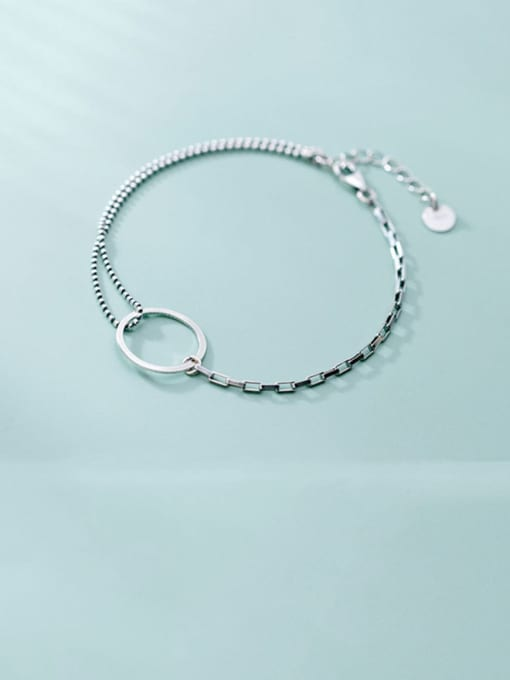 Rosh 925 Sterling Silver Simple Ring Personality Fashion Asymmetry  Link Bracelet