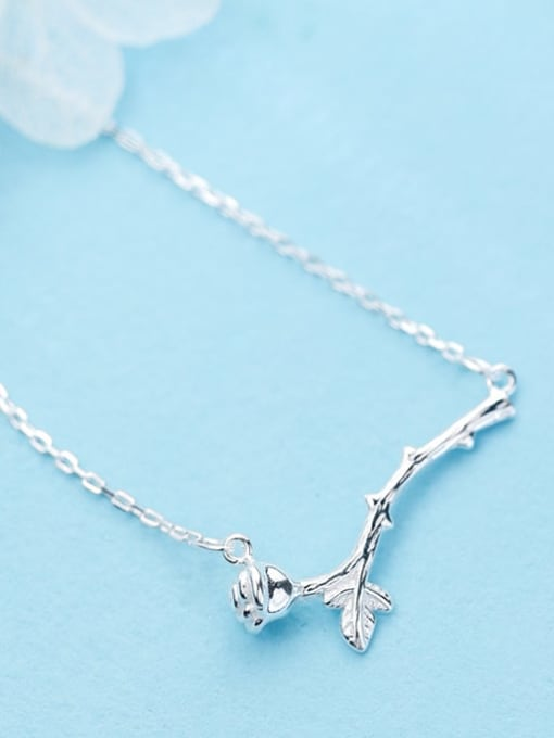 Rosh 925 Sterling Silver Rhinestone Rose branch Personalized flower short Necklace 0