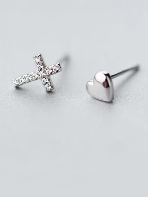 Rosh 925 Sterling Silver Rhinestone Asymmetry cross Heart Minimalist Stud Earring