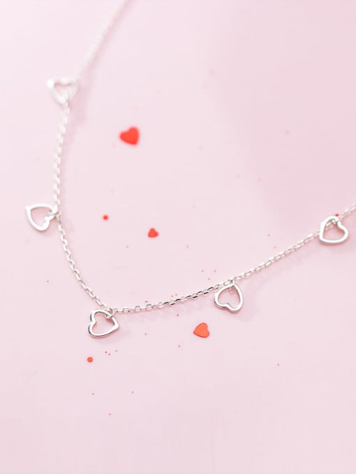 Rosh 925 Sterling Silver Minimalist Hollow Heart Pendant  Necklace 1
