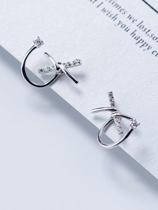 Rosh 925 sterling silver rhinestone bowknot trend stud earring 1