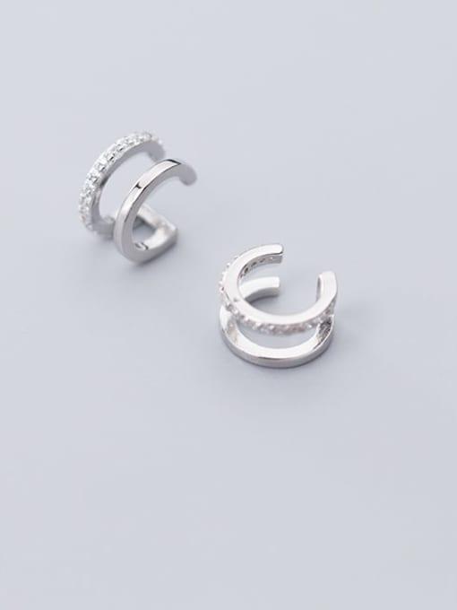 Rosh 925 Sterling Silver Rhinestone  Geometric Vintage Clip Earring 2