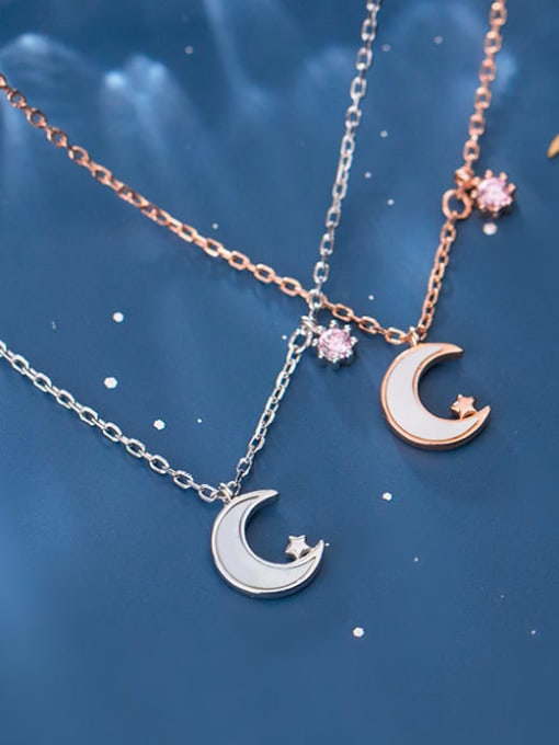 Rosh 925 sterling silver shell  Simple Moon pendant necklace 0
