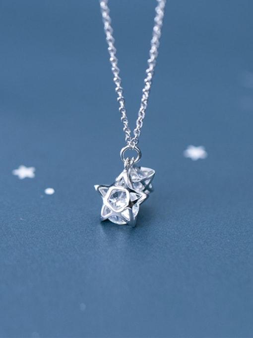 Rosh 925 Sterling Silver Cubic Zirconia simple multi diamond Pentagram fashion hollow Necklace 2