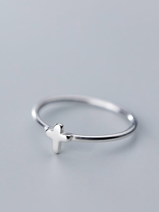 Rosh 925 Sterling Silver Smooth Cross Minimalist Free size Ring 2