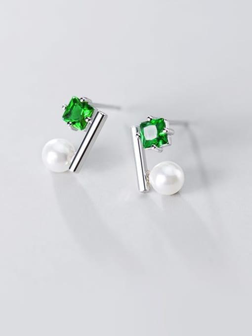Rosh 925 Sterling Silver Cubic Zirconia Green Square Minimalist Stud Earring 1