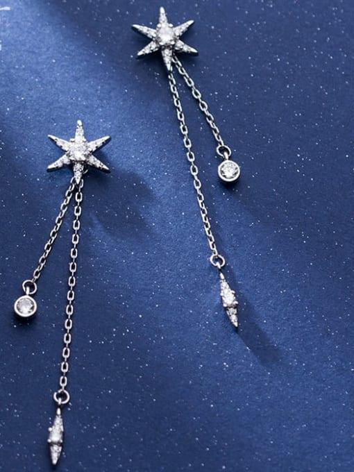 Rosh 925 Sterling Silver Cubic Zirconia  Star tassel Minimalist Threader Earring 0