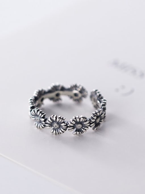Rosh 925 Sterling Silver Flower Vintage Free Size Band Ring 3