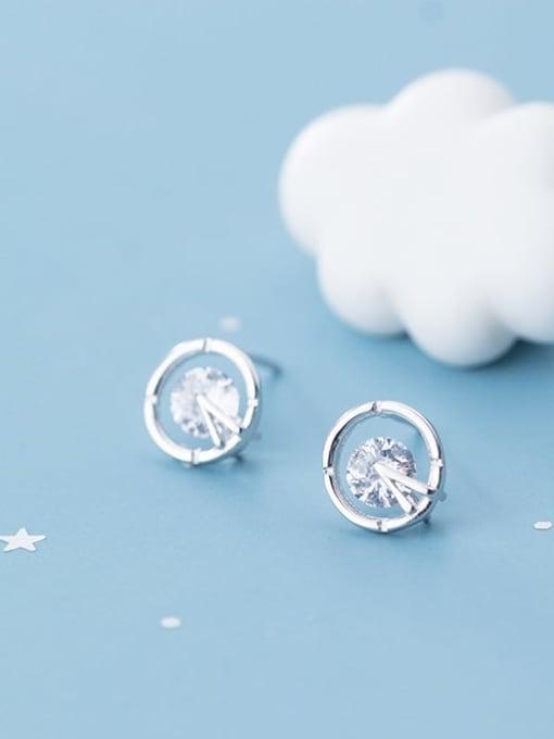 Rosh 925 Sterling Silver Cubic Zirconia Round Minimalist Stud Earring