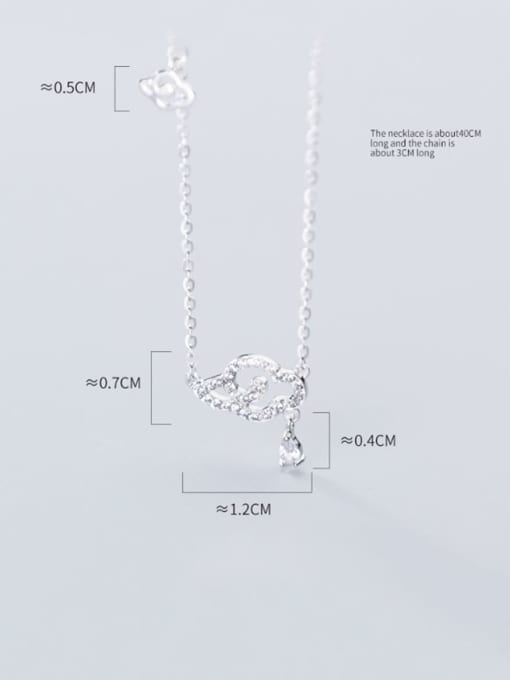 Rosh 925 Sterling Silver Rhinestone Diamond clouds  Necklace 3