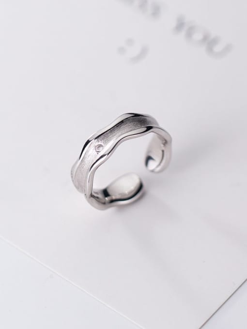Rosh 925 Sterling Silver Irregular Minimalist Free Size Band Ring 0