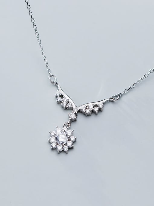 Rosh 925 Sterling Silver Personality wings small flowers diamonds Necklace 2