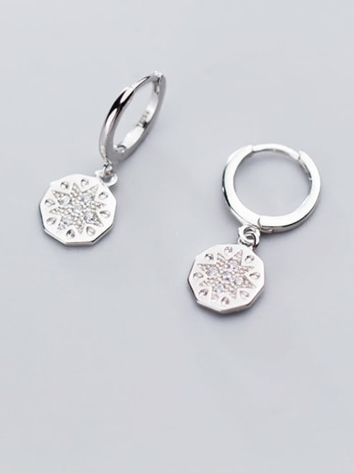 Rosh 925 Sterling Silver Fashion diamond simple and irregular Round Huggie Earring 1