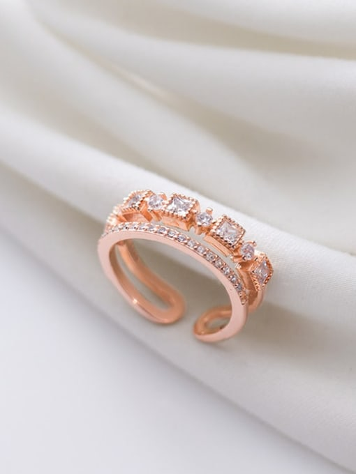 Rosh 925 Sterling Silver Square Cubic Zirconia  Dainty Free Size Band Ring 0