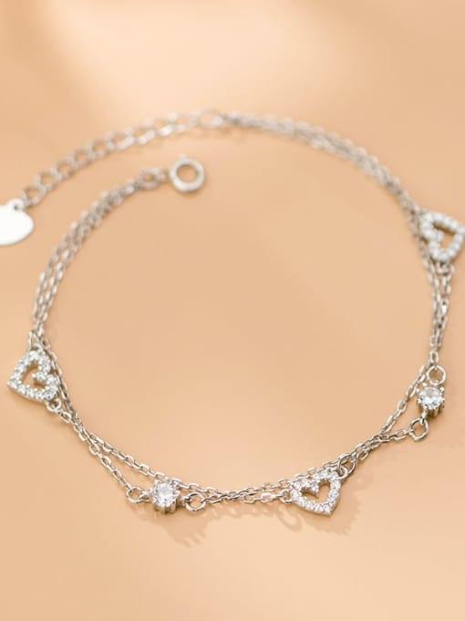 Rosh 925 Sterling Silver Minimalist  Hollow Heart Strand Bracelet 2