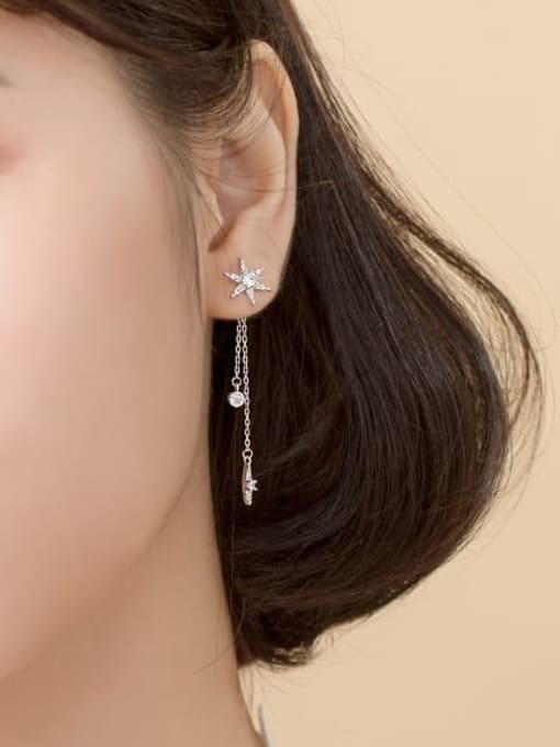 Rosh 925 Sterling Silver Cubic Zirconia  Star tassel Minimalist Threader Earring 3
