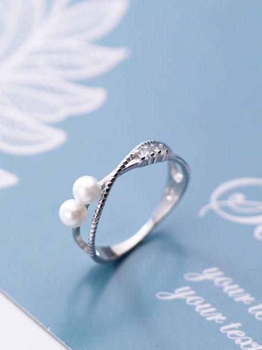 Rosh 925 sterling silver imitation pearl  cross minimalist free size ring