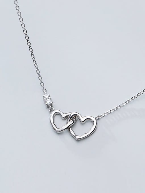 Rosh 925 Sterling Silver Minimalist  Hollow  Heart Necklace