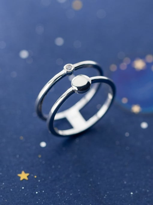 Rosh 925 Sterling Silver Double layer  Round Minimalist Band Ring