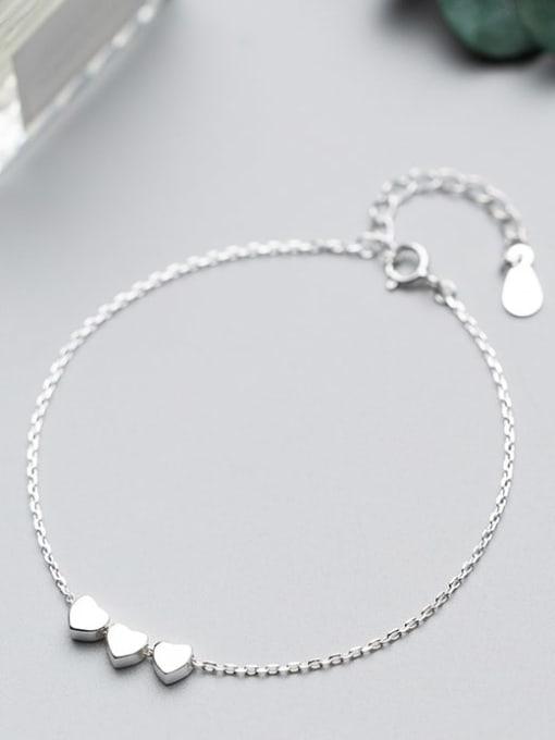 Rosh 925 Sterling Silver Smooth Heart Minimalist Link Bracelet