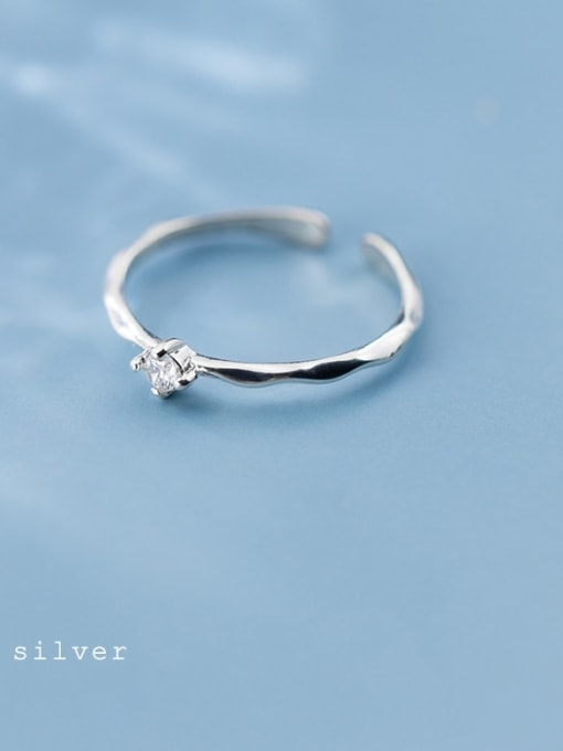 Rosh 925 Sterling Silver Cubic Zirconia  Round Minimalist  Free Size Ring 0