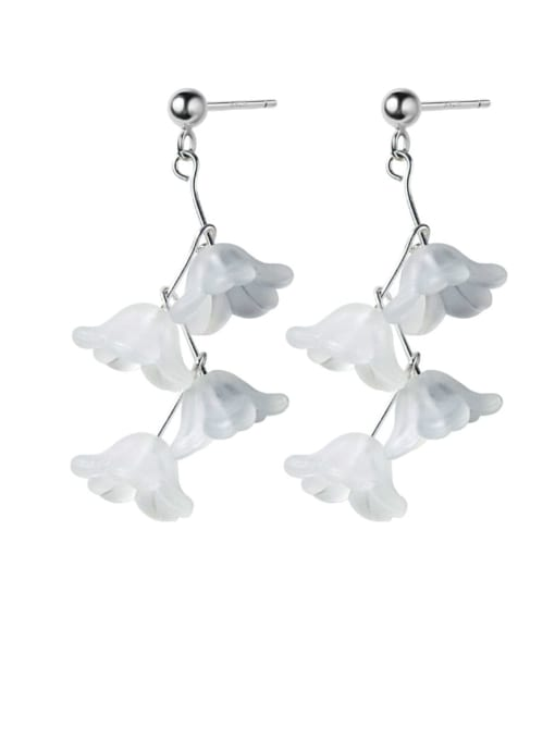 Rosh 925 Sterling Silver Resin White Flower Trend Drop Earring